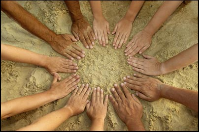 People's mandala - 12 hands