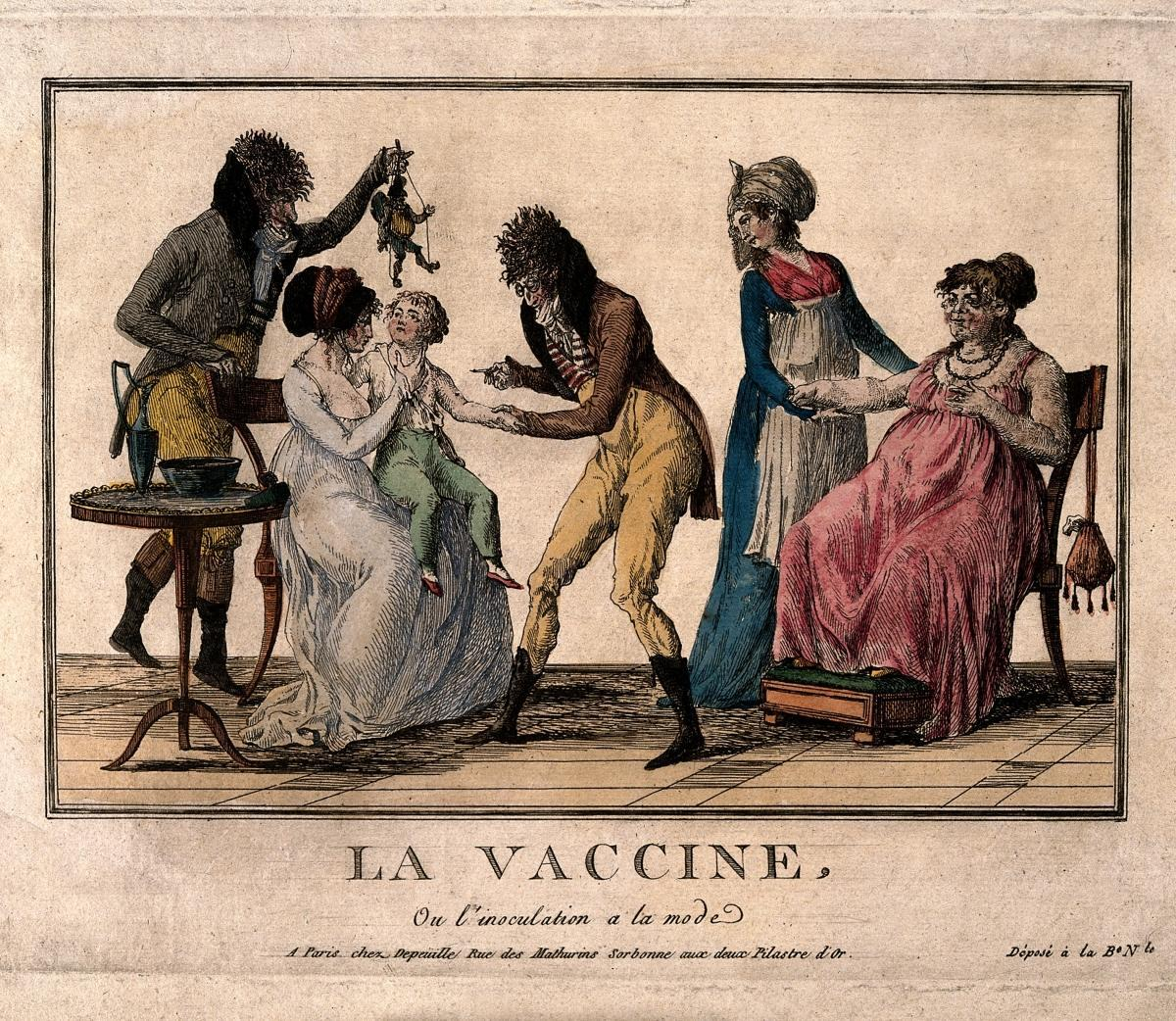 A corpulent woman provides the pustule for the vaccination o