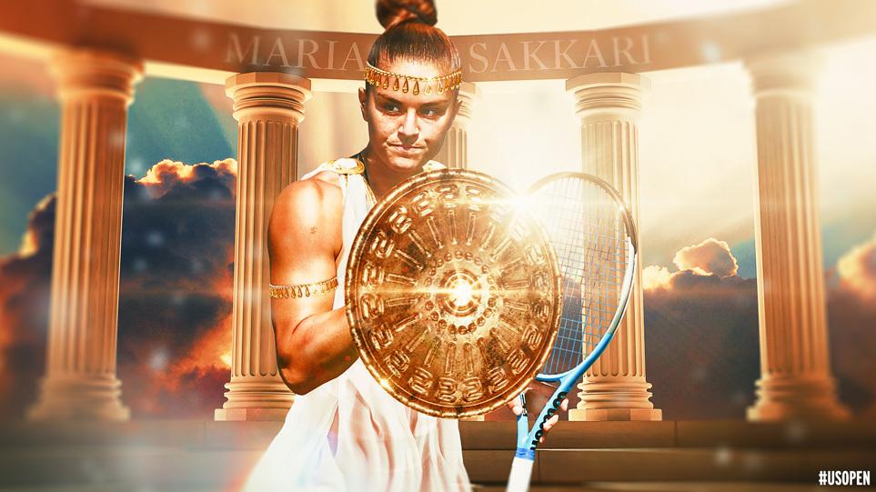 Μαρία Σάκκαρη: Αποθέωση από το US Open – Την παρουσίασε ως Ελληνίδα πολεμίστρια με ασπίδα